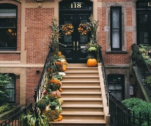 autumn, house, and pumpkin image