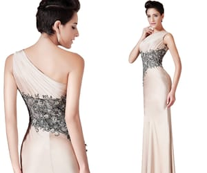 champagne, party dress, and one shoulder image