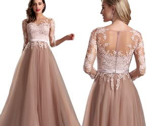 long sleeves, lace prom dress, and formal evening dress image
