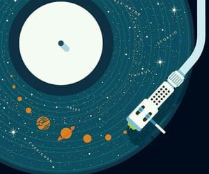 planets, music, and galaxy image