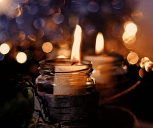 autumn, candle, and lights image