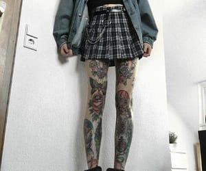 90s, leg tattoo, and skirt image