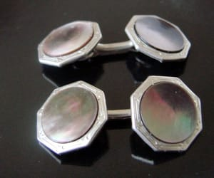 gifts for men, art deco cufflinks, and silver tone image