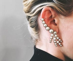 earrings, gold, and style image