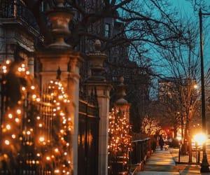 street, autumn, and lights image
