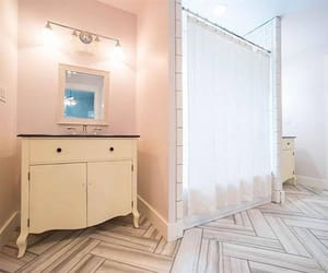 bathroom, curtain, and flooring image