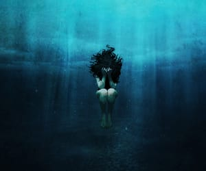 drowning, water, and blue image