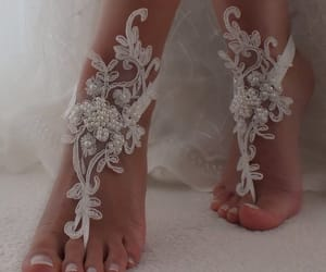 beach party, wedding day, and bridal shoes image