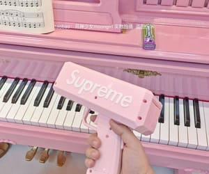 pink, supreme, and piano image