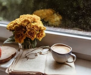 autumn, flowers, and coffee image