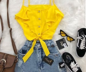 bag, vans, and jeans skirt image