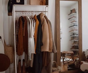 brown, closet, and clothes image