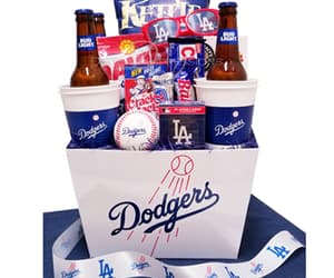 los angeles dodgers, baseball fan gifts, and la dodgers gift basket image