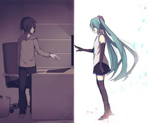 anime girl, hatsune miku, and magnet image