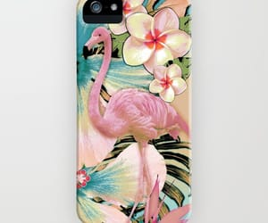 Collage, flamingo, and floral image