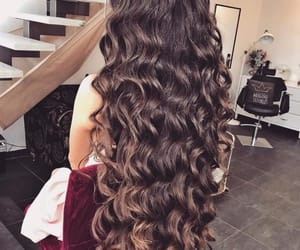brunette, beauty, and curly image
