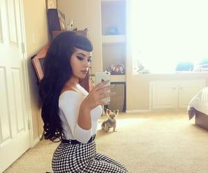 bangs, black hair, and fashion image