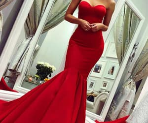 evening gown, red dress, and mermaid dress image