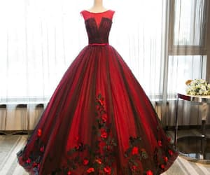 red evening dress, evening dress ball gown, and prom dresses for teens image