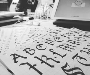 calligraphy, gothic, and ink image