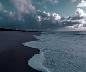 beach, clouds, and waves image