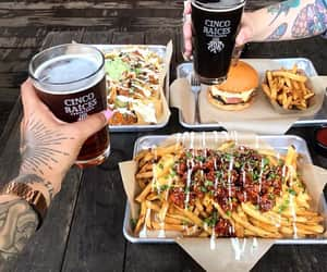 beer, fries, and pornfood image
