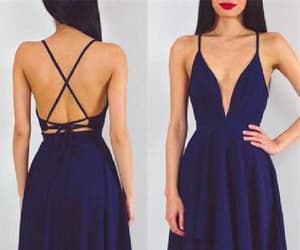 sexy prom dress, v-neck evening dresses, and navy evening dresses image