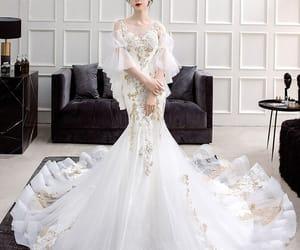 bridal, girl, and see through wedding dress image