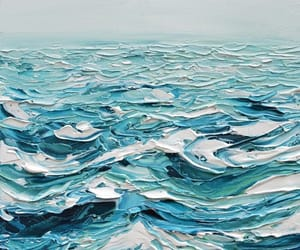 art, blue, and ocean image