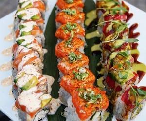 food, salmon, and seafood image