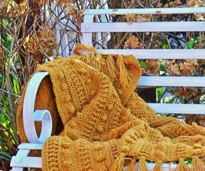 autumn, bench, and blanket image