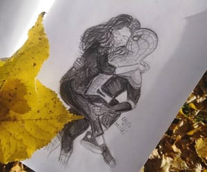 art, drawing, and fall image