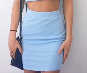blue and pencil skirt image