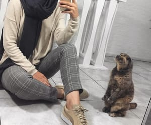 cat, fashion, and hijab image