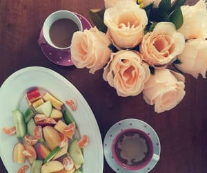 coffe, morning, and roses image