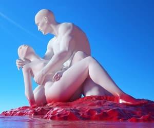 art, blue, and men image