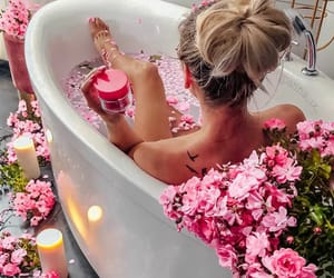 bath, pink, and flowers image