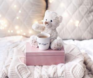 teddy bear, coffee, and lights image