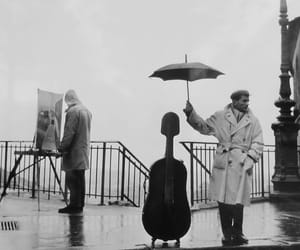 rain, music, and black and white image