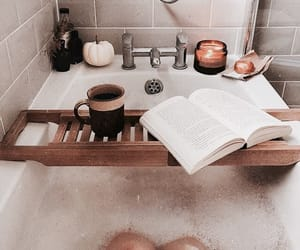 bath, bathtub, and book image