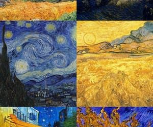background, blue, and gogh image