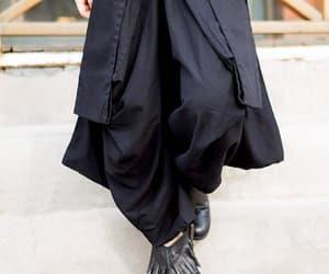 black pants, wide leg pants, and cotton pants image