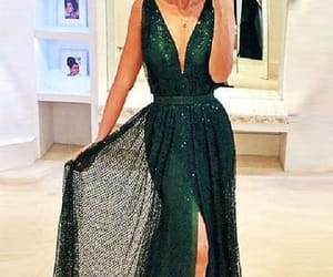 prom dress, lace evening dresses, and prom dress green image