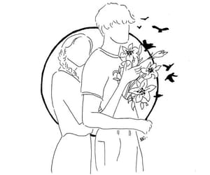 couple, drawing, and flowers image