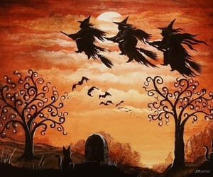 Halloween, landscape, and Witches image