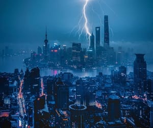 lights, shanghai, and storm image