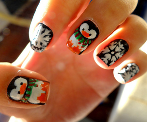 nails, nail art, and penguin image