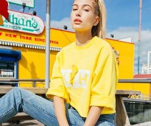 model, hailey baldwin, and yellow image