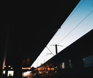 sunset, train, and travels image