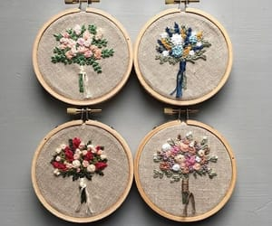 art, flowers, and thread image